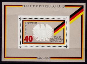 GERMANY S/SHEET 1974 25 Yaer REPUBLIC Bl.10 MNH ** (6755