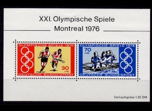 GERMANY S/SHEET OLYMPICS 1976 Block 12 ** MNH (6756
