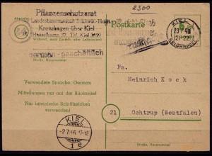 Gebühr bezahlt Reichspost Kiel-Ochtrup Pflanzenschutz 1946 (6798