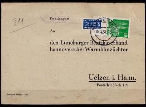 Karte Posthilfstelle/Landpost Räber über Uelzen Pferde (6800