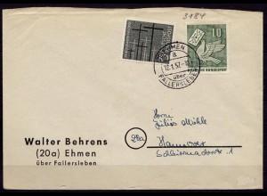 Ehmen Landpost-Überstempel Fallersleben 1957 n.Hannover (6805