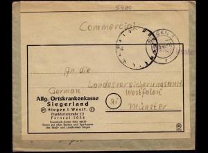 Gebühr bezahlt Postamt Siegen nach Münster LVA 12.09.1945 (6807