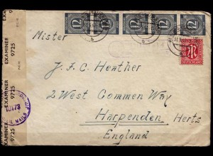 Zensur-Brief Posthilfstelle Hildfeld ü Bestwig SL.31-5-46 n.Harpenden (6812