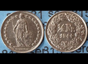 Schweiz - Switzerland 1/2 Franken 1944 SILVER Silber COIN (7012