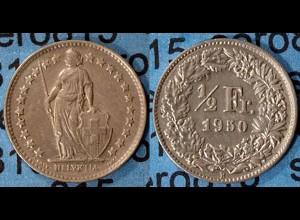 Schweiz - Switzerland 1/2 Franken 1950 SILVER Silber COIN (7016