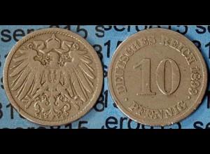 10 Pfennig Kaiserreich EMPIRE 1899 E Jäger 13 (7092