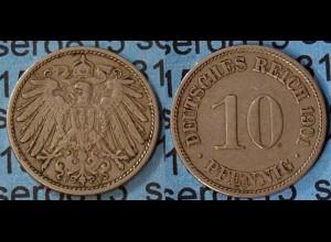 10 Pfennig Kaiserreich EMPIRE 1901 F Jäger 13 (7093