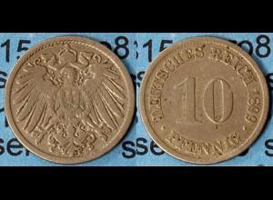 10 Pfennig Kaiserreich EMPIRE 1899 D Jäger 13 (7094