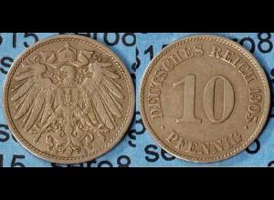 10 Pfennig Kaiserreich EMPIRE 1905 E Jäger 13 (7096