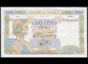 Frankreich - France - 500 Francs Banknote CV.25-7-1940 Pick Nr.95a VF (12342