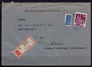 Elsdorf R-Brief Bauten 60 Pf Einzelfrankatur 1951 (7567