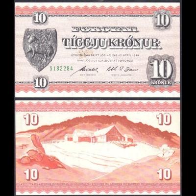 Färöer Inseln - Faroe Islands 10 Kronen 1949 (1954) Pick 14d (13537