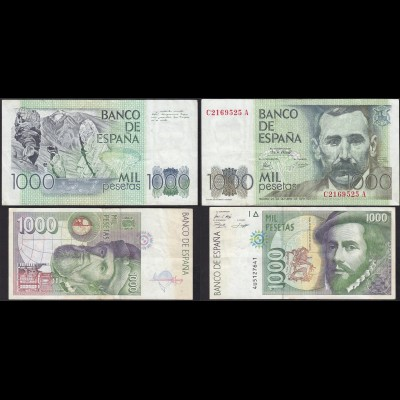 Spanien - Spain je 1000 Pesetas 1979 + 1992 Pick 158 + 163 F/VF (13533