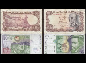 Spanien - Spain 100 (1970) 1000 (1992 ) Pesetas Pick 152 + 163 - F/VF