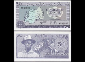 Ruanda - Rwanda - 50 Francs Banknote 1964-1976 UNC Pick 7c (12933