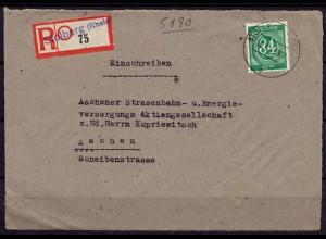 Stolberg E-Brief prov.R-Zettel 1947 nur Vorderseite (7582