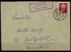 Brief Posthilfstelle/Landpost Hohnbach über Colditz (7632