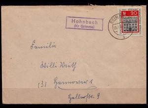 Brief Posthilfstelle/Landpost Hohnbach Kreis Grimma (7633