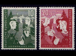 GERMANY BRD Mi. 153/54 Charity Stamp Jugend 1952 MNH ** (7654