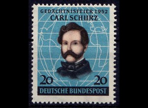 GERMANY BRD Mi. 155 Schurz Freedom Fighters 1952 MNH ** Michel 20,00 € (7655