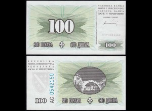 Bosnia & Herzegovina - 100 Dinara Banknote 1994 UNC Pick 44 RAR (14414