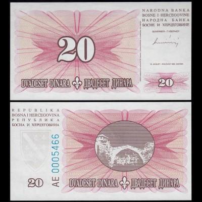 Bosnia & Herzegovina - 20 Dinara Banknote 1994 UNC Pick 42 (14416
