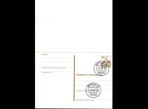 Berlin Ganzsache 30/30 Antwortkarte P 111 mit Stempel 9-10-1980 (0248
