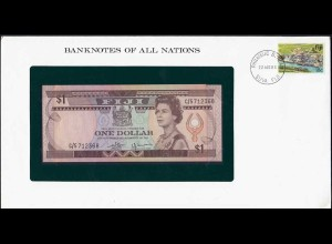 Banknotes of All Nations - Fiji Islands 1 $ (1980) Pick 76a UNC (15626