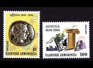 Griechenland Greece MiNr.1568/69 150 J. Hauptstadt ** (8143