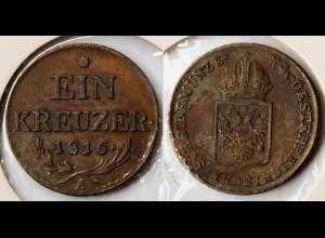 Österreich - Austria 1 Kreuzer 1816 A in vorzüglicher Erhaltung (r729