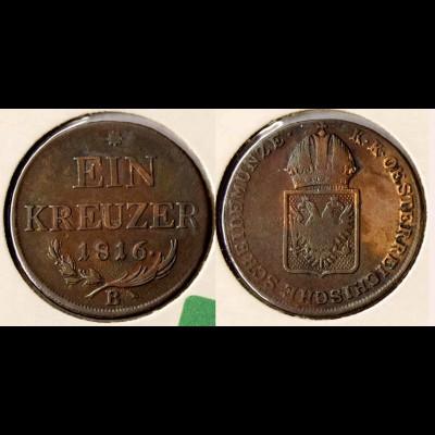 Österreich - Austria 1 Kreuzer 1816 B in fast sehr schöner Erhaltung (r727