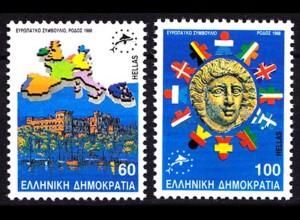 Griechenland Greece MiNr.1715/1716 ** 1988 EU Rhodos (8177