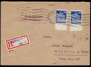 Göttingen - Münster R-Brief Not-R-Zettel MEF Bedarfsbrief 1948 Mef 30 Pfg. (8759
