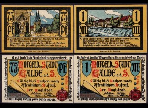 Sachsen-Anhalt - Calbel 75 Pfennig + 1 Mark Notgeld o.D. (cb004