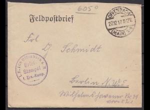 Offenbach - Berlin Feldpost 1.WK 1. Ers. Kompanie 1917 (8777
