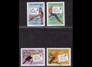 Kolumbien Colombia Vögel Birds Wildlife UPU Mi. 1275-78 1974 ** MNH (9014