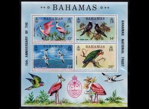 Bahamas Vögel Birds Animals Wildlife Block 1974 ** MNH (9019