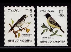 Argentinien Argentina 1171-72 ** MNH Vögel Birds Wildlife 1974 (9022