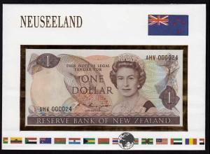 Neuseeland - New Zealand 1 Dollar 1981-92 im Banknotenbrief UNC Pick 169b