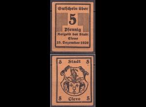 Rheinland - Cleve (Kleve) 5 Pfennig Gutschein/Notgeld 1920 (cb022