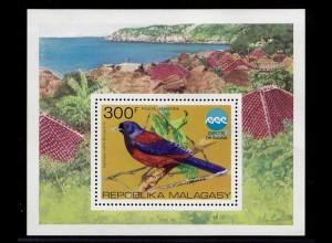 Madagaskar Vögel Birds Animals 1972 Block 8 ** MNH (9076