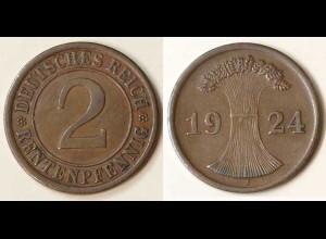 2 Rentenpfennig 1924 J Weimar Jäger Nr. 307 (9788