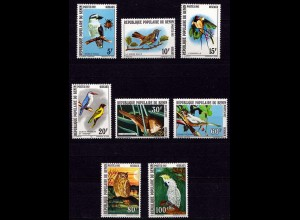 Benin 288-295 Vögel Birds Eule Wildlife Tiere Animals 1982 ** (9241