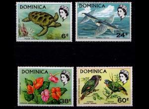 Dominica Michel 296-299 Vögel Birds Wildlife Tiere 1970 ** (9259