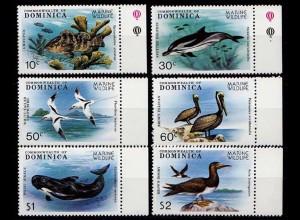 Dominica Vögel Birds Wildlife Tiere Fish Michel 630-635 1979 ** (9264