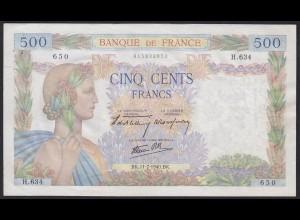 Frankreich - France 500 Francs Banknote 11-7-1940 XF Pick 94a (12346