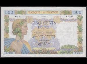 Frankreich - France 500 Francs Banknote 31-7-1941 VF Pick 94b (12345