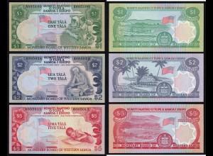 West-Samoa - 1, 2, 5 Tala Banknote 1980 Pick 19, 20, 21 UNC (16198