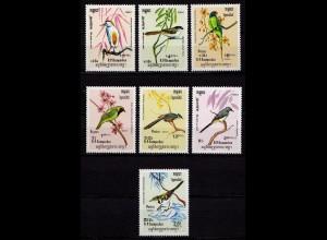 Kambodscha Cambodia Vögel Birds Wildlife 1984 ** Mi. 550-556 (9639
