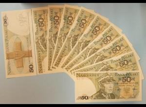 Polen - Poland - 10 Stück á 50 Zlotych Banknote 1988 UNC Pick 142c (89003